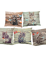 Set of 5 Cartoon cat pattern  Linen Pillowcase Sofa Home Decor Cushion Cover (18*18inch)