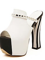 Sandals Summer Club Shoes PU Dress Chunky Heel Rhinestone