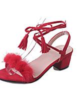 Черный Красный БелыйПовседневный Для праздника-Полиуретан-На низком каблуке-Удобная обувь-Сандалии