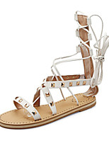 Sandalen-Büro Kleid Lässig-Kunstleder-Flacher Absatz-Komfort Neuheit Club-Schuhe-Schwarz Braun Weiß