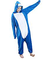 Kigurumi Pajamas Shark Leotard/Onesie Festival/Holiday Animal Sleepwear Halloween Blue Flannel Cosplay Costumes For Unisex Female