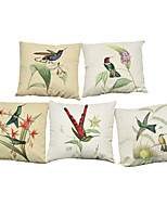 Set of 5 Simple flowers and birds pattern Linen Pillowcase Sofa Home Decor Cushion Cover (18*18inch)