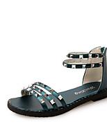 Черный Белый Тёмно-синийДля офиса Повседневный-Полиуретан-На плоской подошве-Удобная обувь-Сандалии