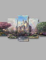 HD Print Castle Rainbow scenery Painting Wall Art 5pcs/set Home Decor (No Frame)