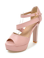 Sandals Spring Summer Fall Club Shoes Leatherette Casual Chunky Heel Buckle Black Pink White