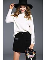 Sign angelababy2016 winter new solid backing half turtleneck sweater female Korean woolen skirt jacket +