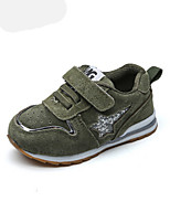 Baby Flats Spring Fall First Walkers PU Outdoor Casual Flat Heel Magic Tape Army Green Pink Walking