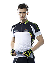 Mysenlan Cycling Jersey Men's Short Sleeve Bike Breathable Jersey Polyester Fashion Summer Black/White Blue/White