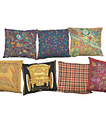 Set of 7 National style pattern Linen  Cushion Cover Home Office Sofa Square  Pillow Case Decorative Cushion Covers Pillowcases