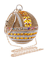 Women Evening Bag Polyester All Seasons Wedding Event/Party Formal Ball Rhinestone Crystal Clasp Lock Gold