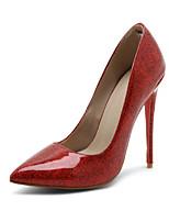 Femme-Mariage Bureau & Travail Soirée & Evénement-Argent Rouge Bleu-Talon Aiguille-Confort-Chaussures à Talons-Polyuréthane