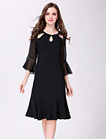 JOJO HANS Women's Going out Casual/Daily Simple Sheath DressSolid Round Neck Knee-length  Sleeve Black Polyester Spring Summer Mid Rise