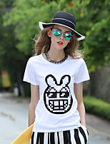 Women's Casual/Daily Simple Spring T-shirt,Animal Print Round Neck Short Sleeve White Cotton Medium