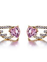 Brincos Curtos Cristal Europeu Cristal Azul Escuro Rosa Doce Jóias Para Diário Casual 1 par