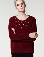 Women's Casual/Daily Simple Regular Pullover,Solid Round Neck Long Sleeve Polyester Spring Fall Medium Micro-elastic