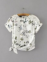 Women's Going out Casual/Daily Sexy Simple Street chic Spring Fall Shirt,Floral Round Neck Short Sleeve Cotton Medium