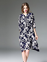 Для женщин На каждый день Очаровательный Оболочка Платье С принтом,V-образный вырез Выше колена Рукав ½ Синий Полиэстер Весна ЛетоСо
