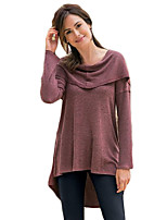 Women's Going out Casual/Daily Beach Sexy Vintage Simple Spring Fall T-shirt,Solid Round Neck Long Sleeve Red Cotton Medium