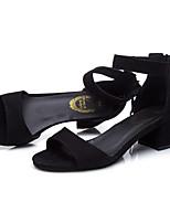 Women's Sandals Summer D'Orsay & Two-Piece Fleece Outdoor Office & Career Casual Chunky Heel Block Heel Zipper Black Army Green Walking
