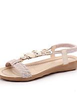 Sandals Summer Comfort PU Office & Career Dress Casual Flat Heel Braided Strap Black Beige Burgundy