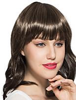 монолитным коричневый парик Короткие вьющиеся волнистые синтетические волокна парик партии женщин парик