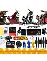 Complete Tattoo Kit 4 Pro Machine  Power Supply Foot Pedal Needles TK455