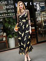 Ample Robe Femme Sortie Mignon,Motif Animal Col Arrondi Midi Manches ¾ Noir Polyester Printemps Eté Taille Normale Micro-élastique Moyen