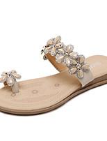 Women's Sandals Spring Summer Light Soles PU Dress Casual Flat Heel Rhinestone Black Almond