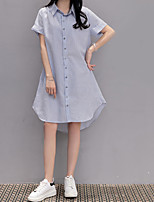 Women's Going out Casual/Daily Street chic Shift Shirt Dress,Striped Shirt Collar Knee-length Short Sleeve Blue Cotton Summer Mid Rise