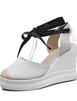 Damen-Sandalen-Büro Kleid Party & Festivität-Leinen Leinwand-KeilabsatzOrange Grau Gelb