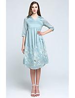 Balançoire Robe Femme Sortie Mignon,Couleur Pleine Col en V Asymétrique ½ Manches Bleu Rose Lin Polyester Printemps Automne Taille Normale