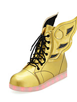 Women's Boots Spring Fall Winter Comfort Novelty Ankle Strap PU Casual Athletic Flat Heel Lace-up Split Joint LED Gold White Walking