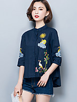 Women's Plus Size Going out Simple Spring Summer Shirt,Embroidered Stand ¾ Sleeve Cotton Polyester Medium