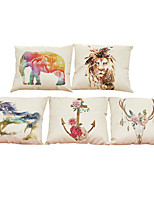 Set of 5 Watercolor printing pattern   Linen Pillowcase Sofa Home Decor Cushion Cover (18*18inch)