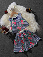 Girls' Casual/Daily Formal Holiday Striped Floral Sets,Cotton Summer Sleeveless Clothing Set