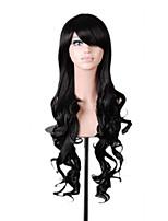 populares 80cm longos pretos ondulados sintética natural das mulheres lolita traje peruca 3 cores