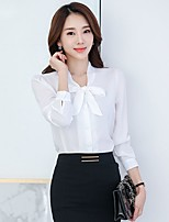 Casual/Daily Formal Work Simple Cute Street chic Shirt,Solid Stand Long Sleeve Pink Red White Polyester