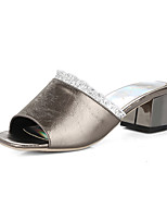 Women's Slippers & Flip-Flops Summer Comfort PU Party & Evening Dress Casual Chunky Heel Ruched Split Joint White Black Dark Grey Red