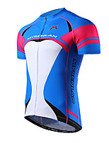 Mysenlan Cycling Jersey Men's Short Sleeve Bike Breathable Jersey Polyester Fashion Summer Blue Clover
