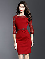 JOJO HANS Women's Formal Sophisticated Bodycon DressSolid Boat Neck Above Knee  Sleeve Red Polyester Spring Summer Mid Rise Micro-elastic Medium