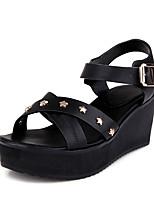 Sandals Spring Summer Fall Slingback PU Office & Career Dress Casual Wedge Heel Buckle Black Pink White