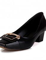 Mariage Bureau & Travail Habillé Décontracté Soirée & Evénement-Noir Blanc-Gros Talon-Confort Nouveauté-Chaussures à Talons-Cuir Verni