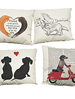 Set of 4 Creative dachshund  pattern  Linen Pillowcase Sofa Home Decor Cushion Cover