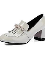 Saltos-Sapatos clube-Salto Grosso-Preto Cinza-Couro Envernizado Pele-Escritório & Trabalho Social Casual