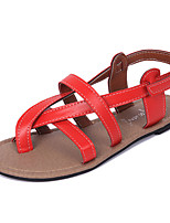 Sandals Spring Comfort PU Casual Flat Heel Others Black Red White