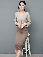 Sign Europe station 2017 spring new Korean fashion Slim thin sleeve dress temperament bottoming female