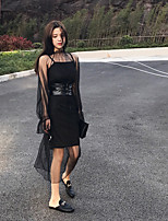 Sign ~ trumpet sleeves Pleated Dress + gauze camisole dress with belt three-piece