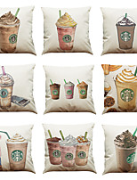 Set of 9 Coffee Starbucks pattern Linen Pillowcase Sofa Home Decor Cushion Cover