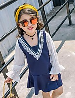 Girl's Patchwork Dress,Cotton Polyester Summer Long Sleeve