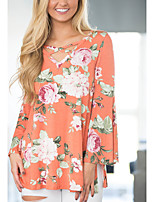 Women's Going out Casual/Daily Vintage Street chic Fashion All Match Spring Fall Criss-Cross T-shirtFloral Round Neck Long Flare Sleeve